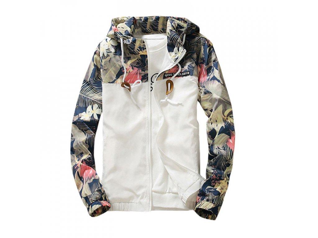 Dámska jarná bunda s kvetinami - (Farba Sivá, Veľkosť XS)