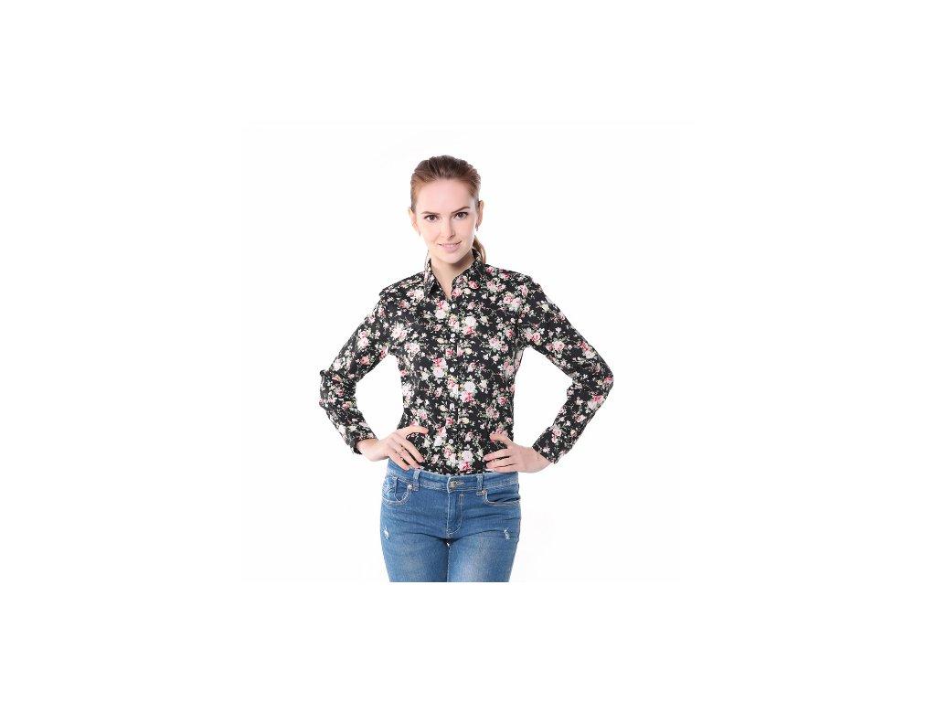 1448 damska kosela s kvetinovym vzorom cierna az 3xl velkost 3xl