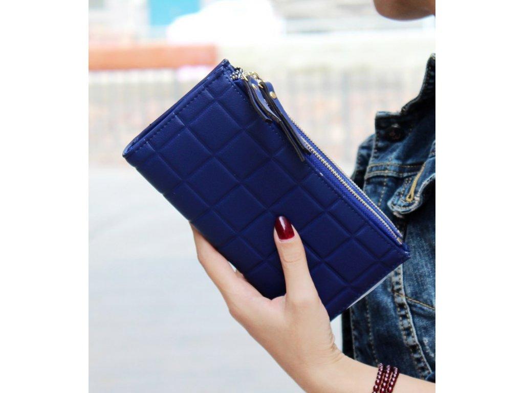 Dámska peňaženka s kockovaným vzorom (Farba Zelená)