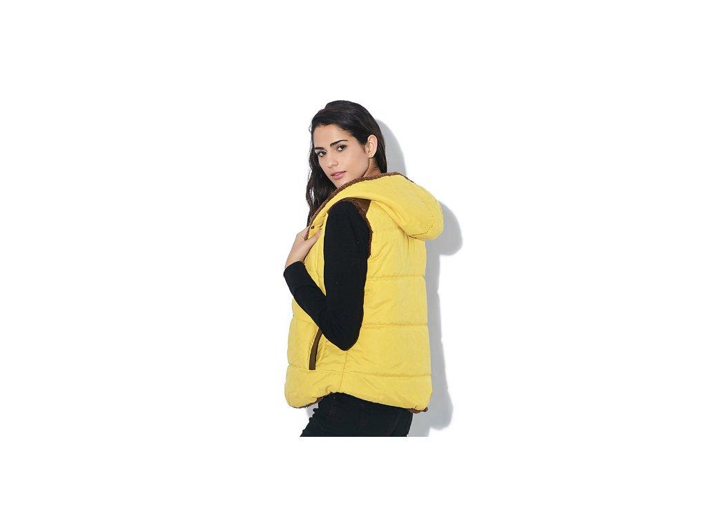 Dámska prešívaná vesta bez rukávov s kapucňou (Farba Žlta, Veľkosť XS)
