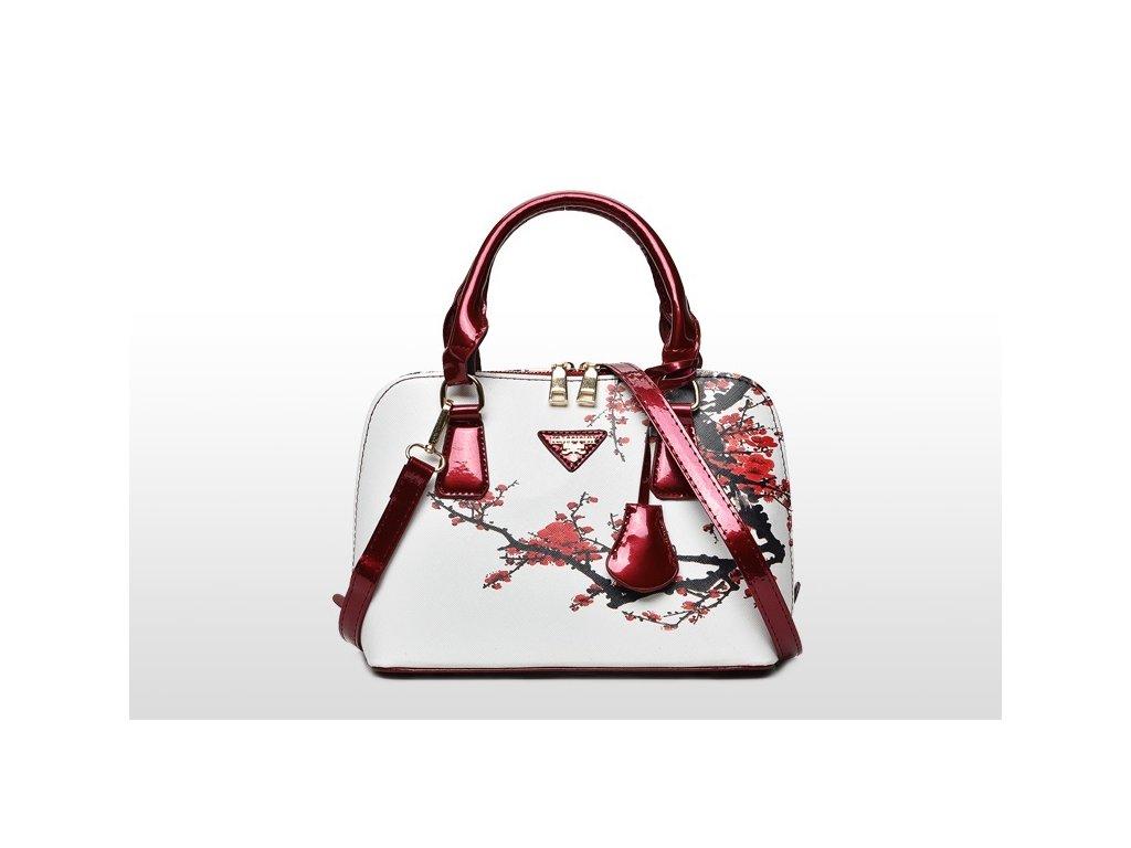 1616 damska stylova kabelka s kvetinovym vzorom 5 variantov farba biela
