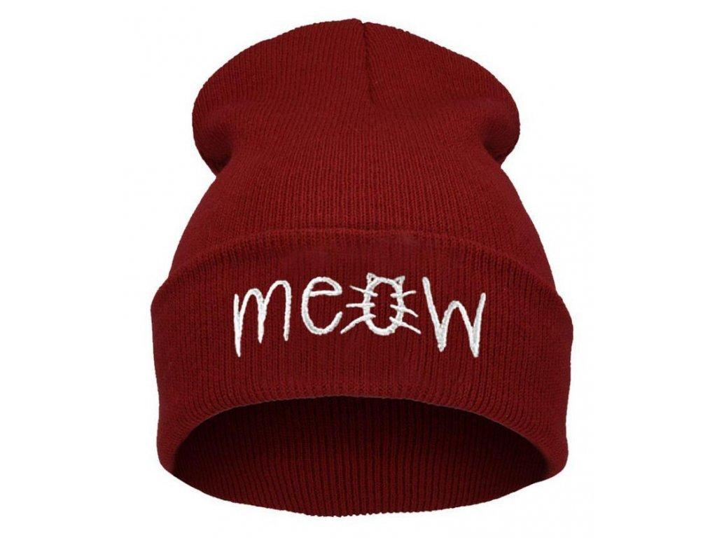 1700 damska zimna ciapka meow 3 farby farba cervena