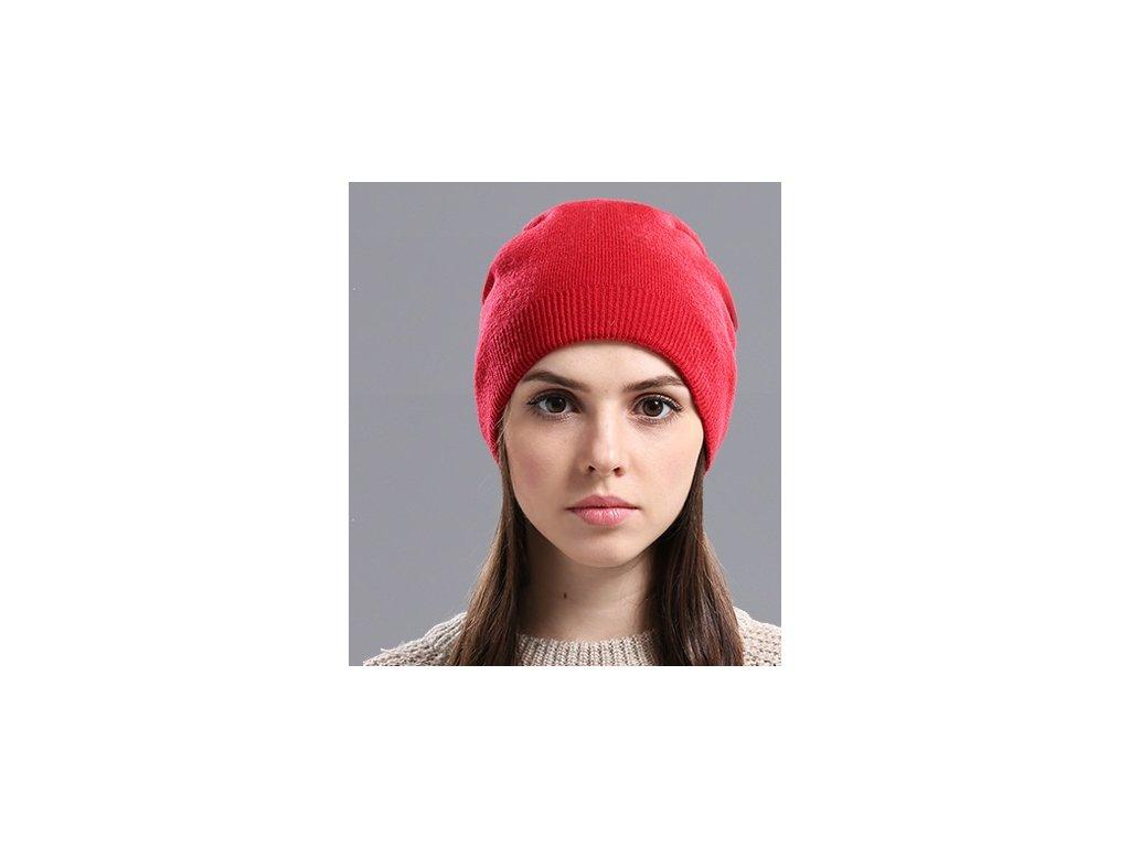 1721 damska zimna ciapka z pravej vlny 4 farby farba cervena