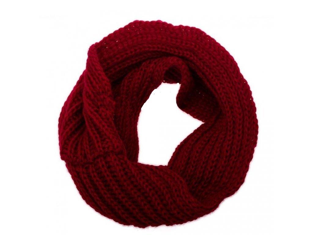 1730 damsky zimny sal 3 varianty pletena vlna farba bordova