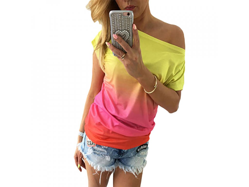 Dámske dúhové tričko (Farba Žlta, Veľkosť S)