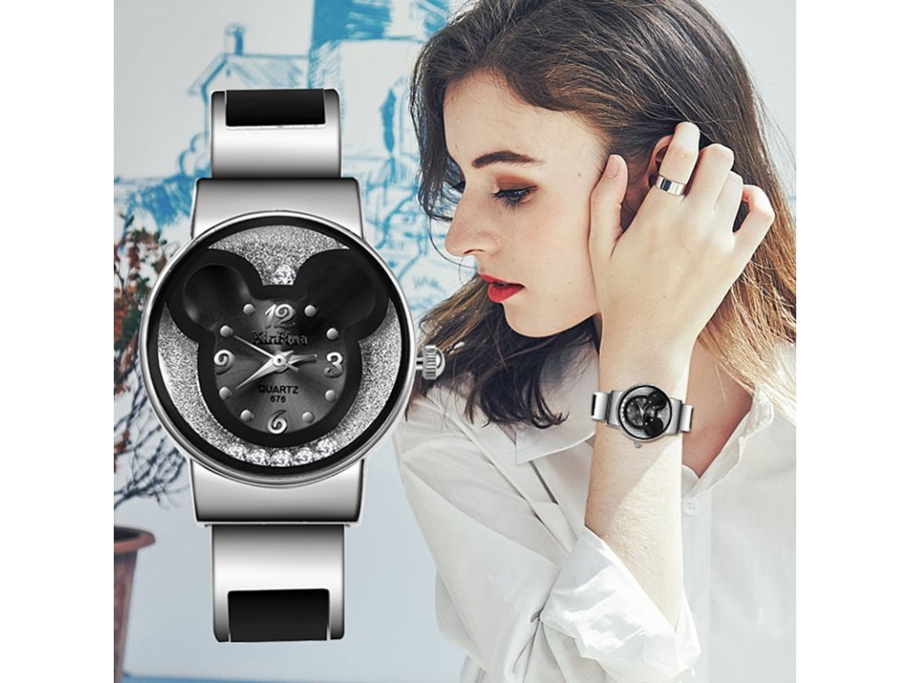 0 Top Brand Women Watches 2019 Mickey Mouse Stainless Steel Women Watch Clock Ladies Watch Relojes Mujer