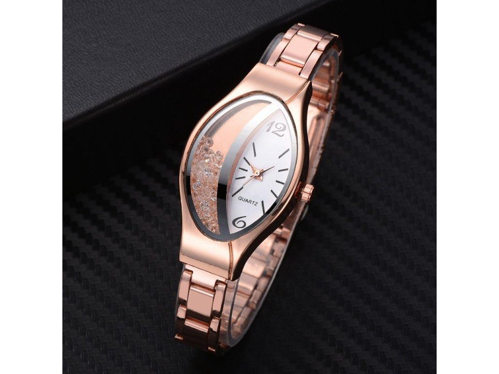 3 Women Bracelet Watch Gold Fashion Luxury Stainless Steel Wrist Watch Rhinestone Ellipse Creative Ladies Dress Quartz