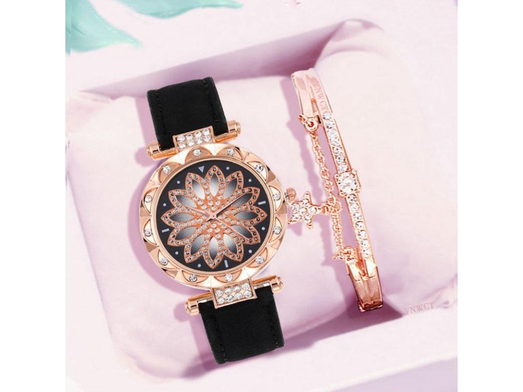 0 Women watch bracelet set starry sky Ladies Watches Lucky flower Leather Quartz Wristwatch Dress Clock gift