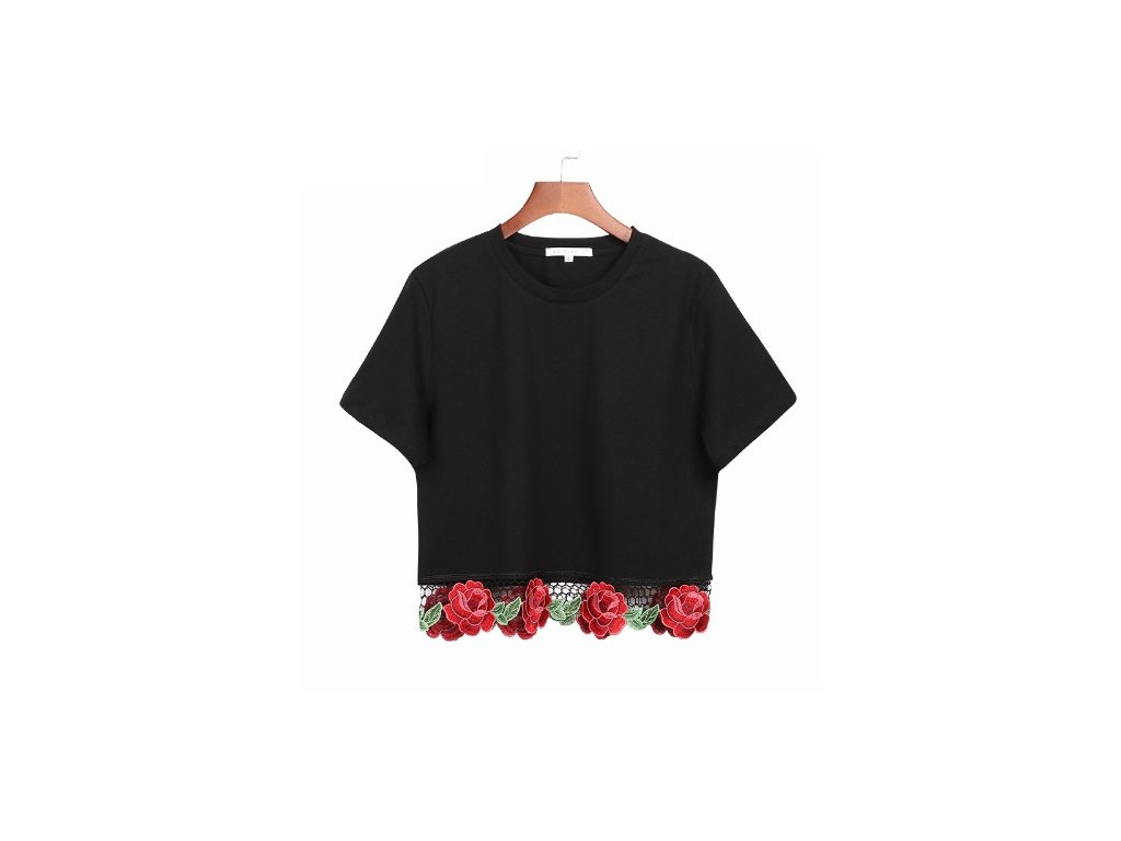 Dámske krátke tričko s kvetinami (Farba Čierna, Veľkosť M)