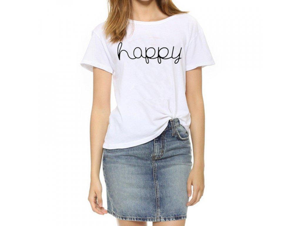 Dámske moderné tričko Happy (Farba Biela, Veľkosť S)