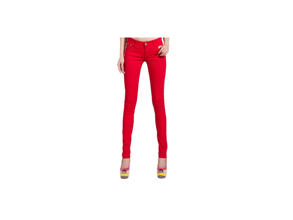 2159 damske stylove dzinsy cervene velkost 26