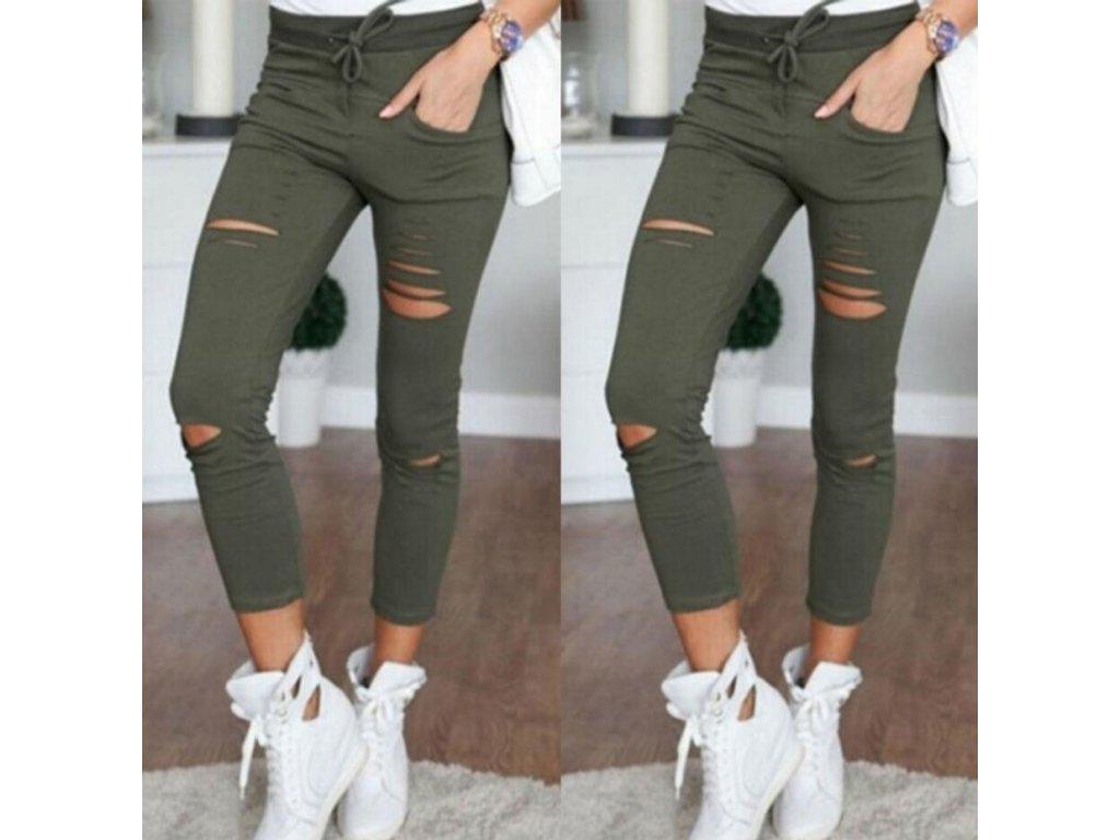 2183 damske stylove nohavice s dierami 5 farieb farba armadny zelena velkost 3xl
