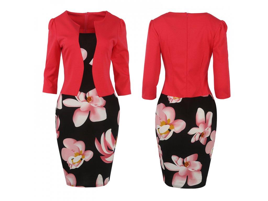 2267 damske saty s kvetinovym vzorom a sakom farba cervena velkost xs