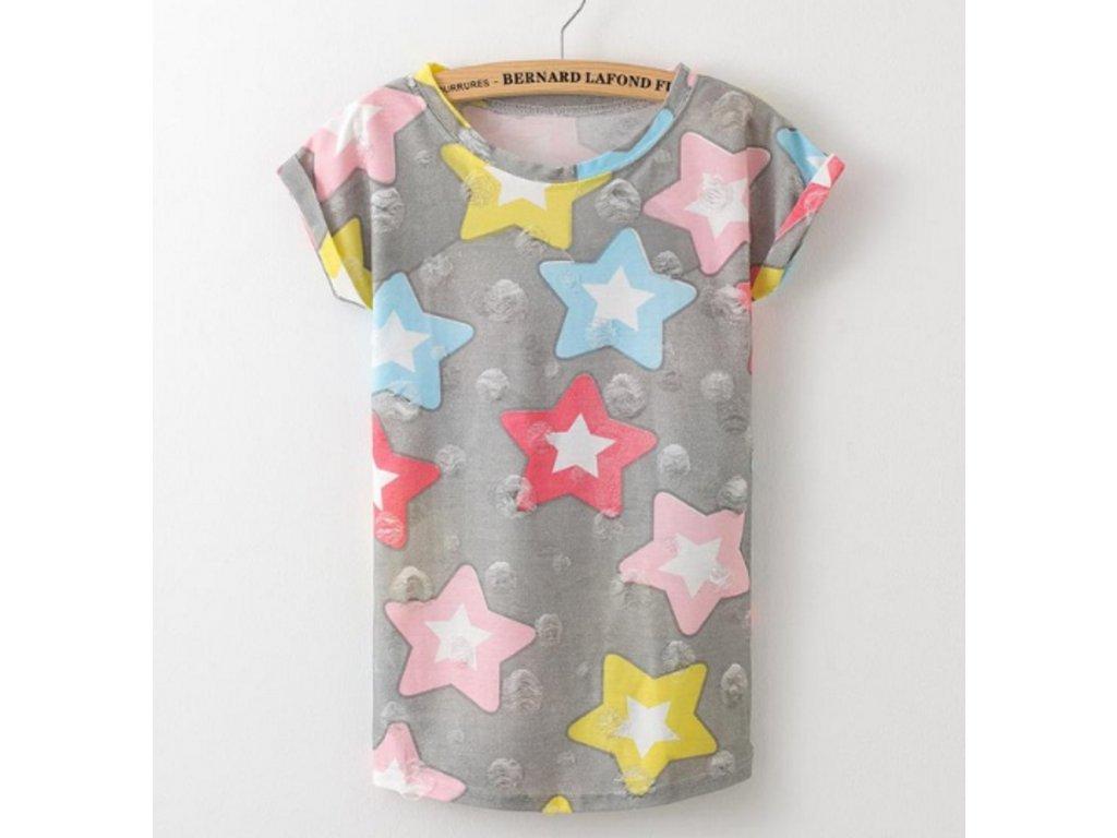 2300 damske tricko farebne hviezdy