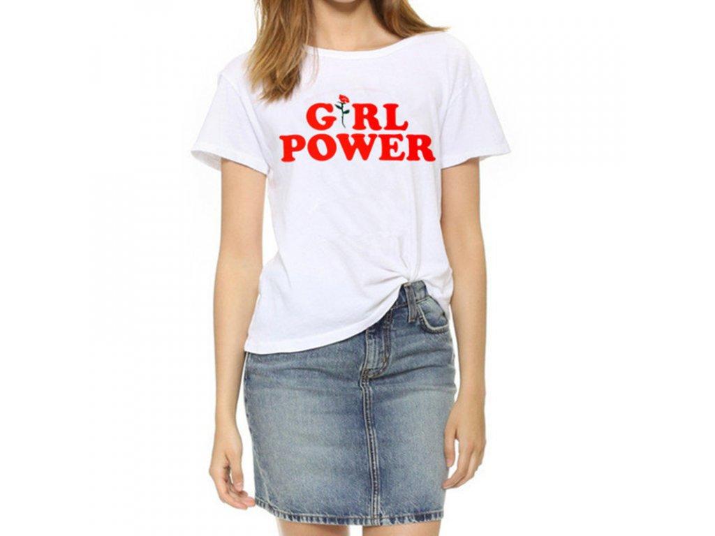 2315 damske tricko girl power biele velkost l