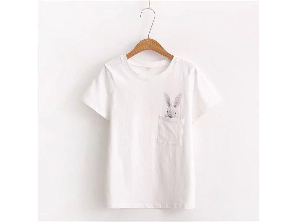 2366 damske tricko s zajacikom 2 farby farba biela velkost s