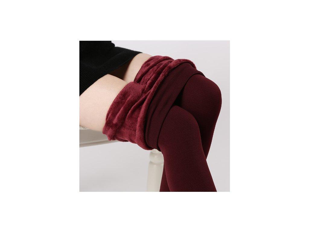 2441 damske zimne elasticke leginy cervene velkost l
