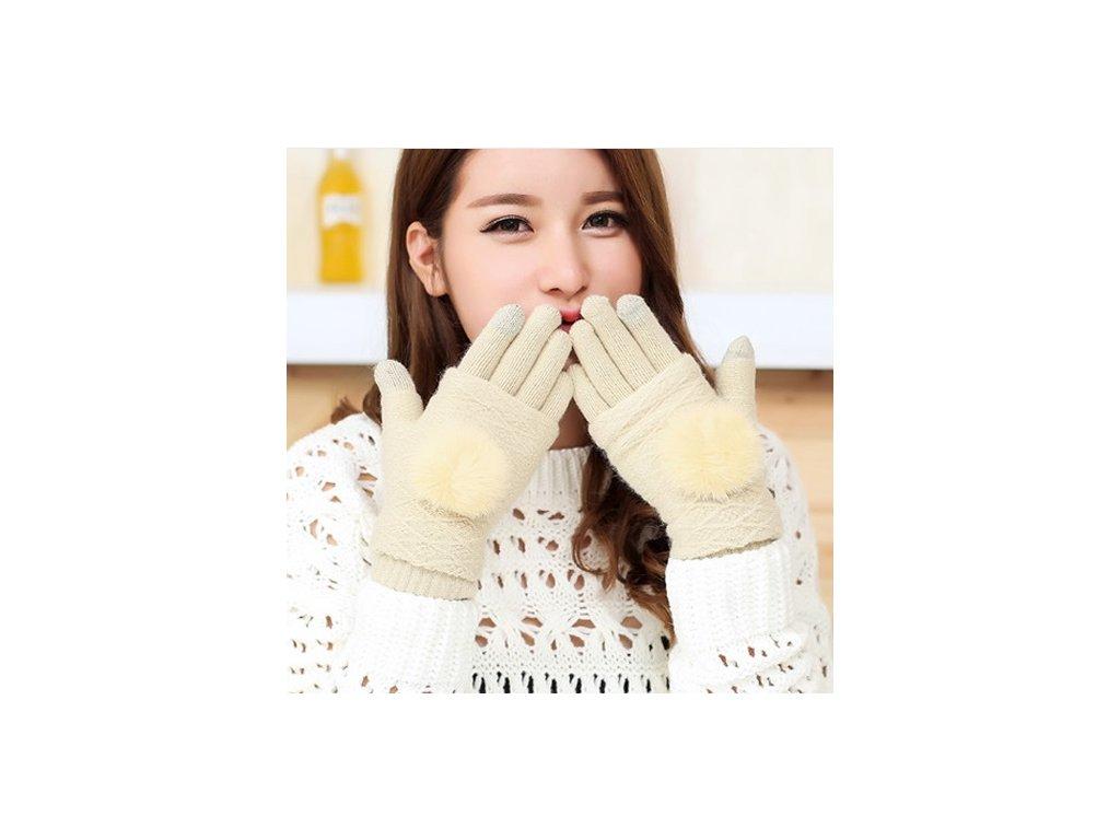 2459 damske zimne oddelitelne rukavice s vyraznou brmbolcom 9 farieb farba bezova