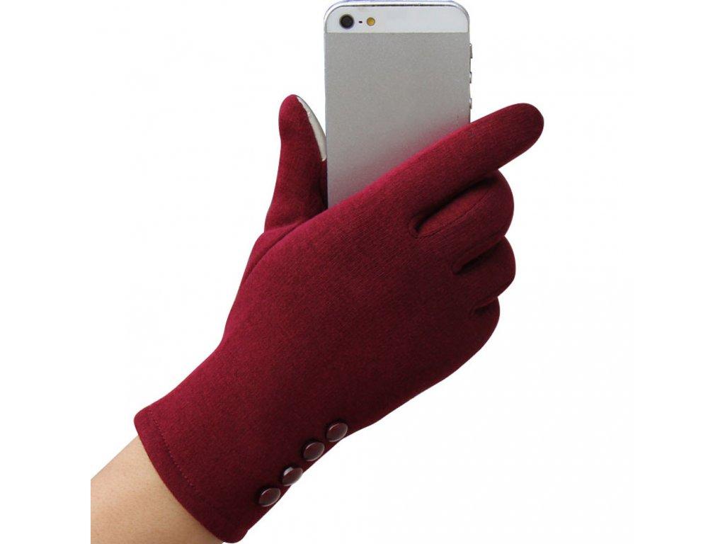 2465 damske zimne rukavice pre dotykovy displej 5 farieb farba cervena