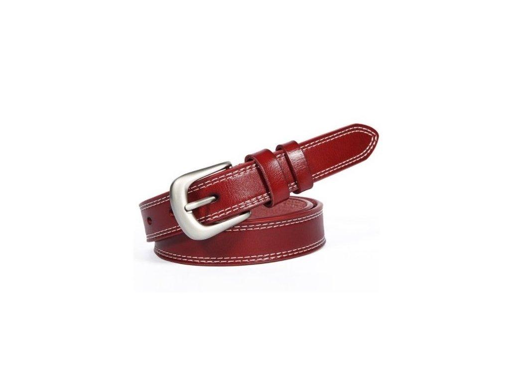2486 damsky kozeny opasok 5 farieb farba cervena velkost 100 cm