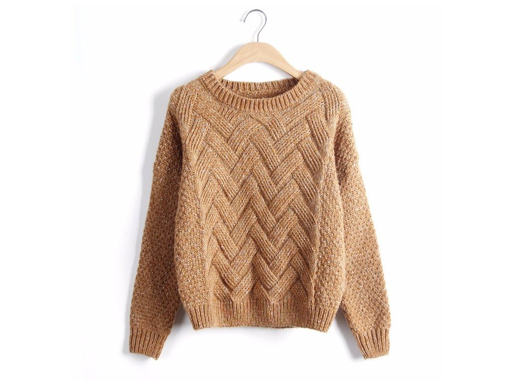 2597 damsky pleteny sveter 6 farieb farba oranzova