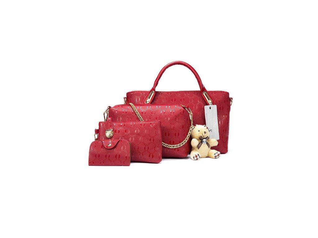 2615 damsky set kabelka listocek penazenka puzdro na doklady farba cervena