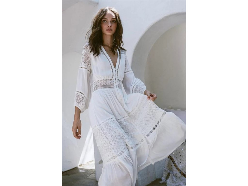 Biele letné Boho šaty (Veľkosť UNI)