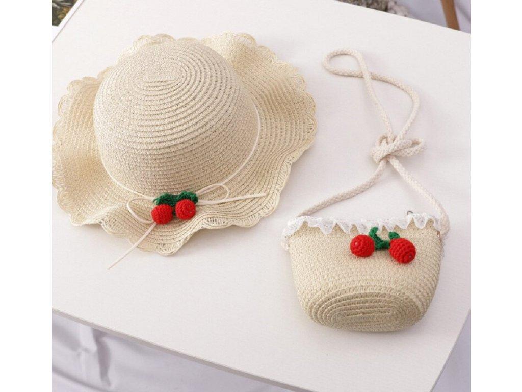 50483 detsky slameny klobuk s kabelkou cherry farba bezova