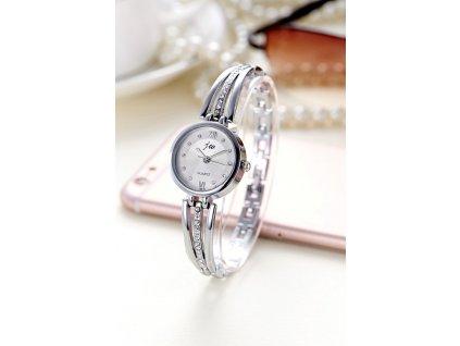 11021 roztomile damske hodinky s kamienkami 2 farby farba strieborna