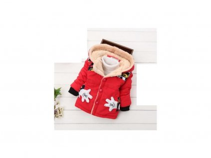 14369 detsky zimny kabat s kozusinkou 3 farby farba cervena velkost 12 18 mesiacov