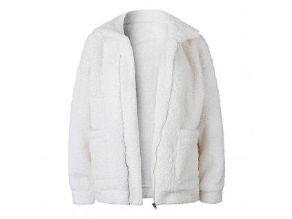 15467 damska pletena bunda 9 farieb farba biela velkost s