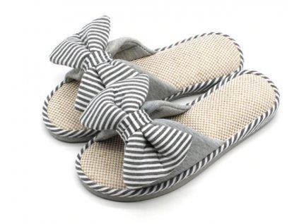 23717 damske domace papuce s maslou farba seda velkost 38