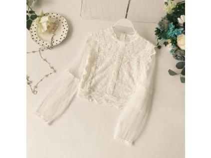 38753 damska bluza s priesvitnymi rukavmi farba biela