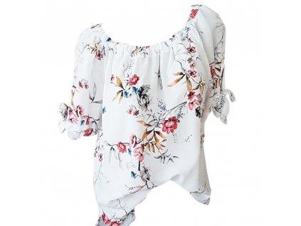 39575 damska bluza s potlacou kvetin farba biela velkost s