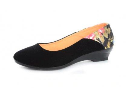 Dámske baleríny s kvetinou (Farba Čierna, Veľkosť 35)
