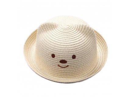 49826 detsky slameny klobuk s usami farba bezova