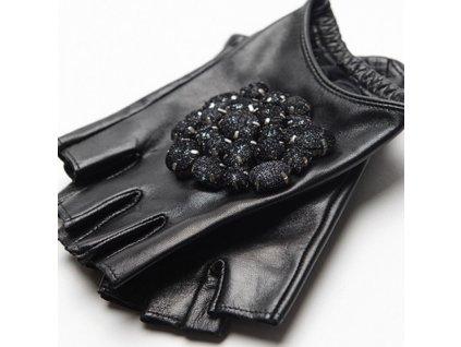 51872 damske kozene rukavice s kamienkami varianta 1 velkost l