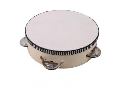 54566 drevena tamburina farba biela