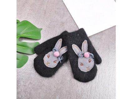 55664 detske zimne rukavice s motivom zajacika farba cierna