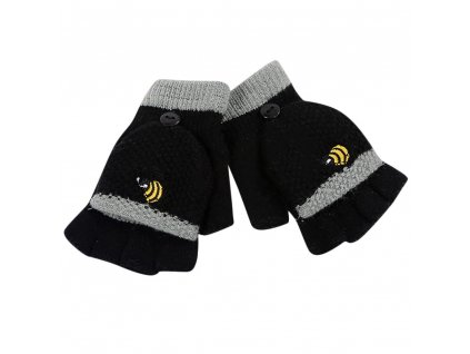 56612 detske zimne rukavice s motivom vcely farba cierna