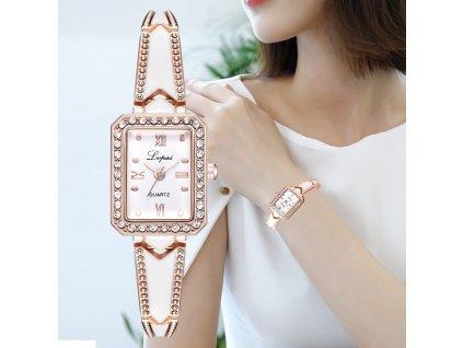 0 Lvpai Brand Luxury Rhinestone Rectangle Watches Women Quartz Bracelet Watches Ladies DressRose Gold Clock relogios kol