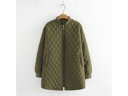 Vojenská zelená bavlnena bunda plus velkosti damska park variants 2