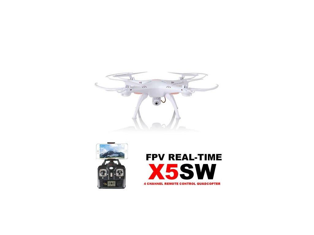 Syma X5Csw PRO - 50 minut letu - WiFi kamera s online prenosom, biela  + heliport / podložka pod myš ZDARMA
