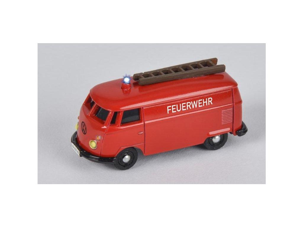 RC autíčko CARSON VW T1 Van Fire Truck 1:87 MAJÁKY SIRÉNA