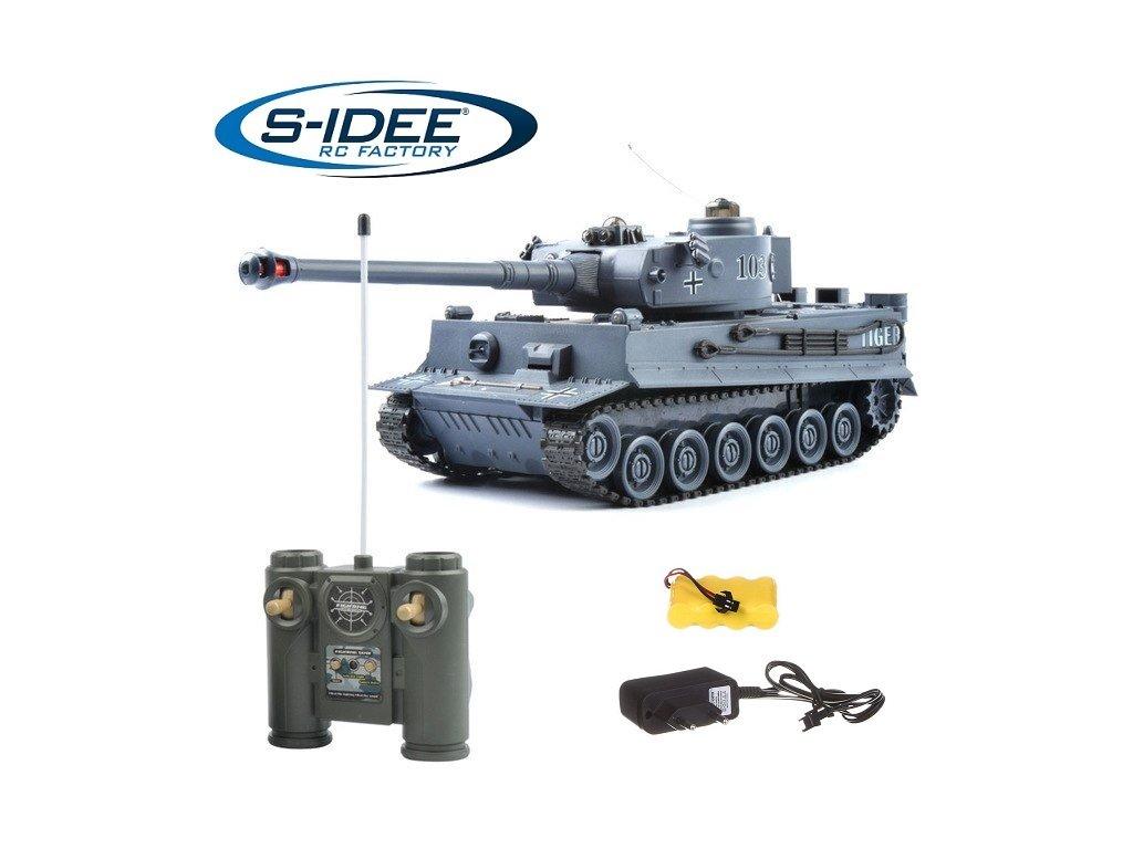 RC Bojujúci tank Tiger 1 sivý 2,4 GHz s infra delom 1:28