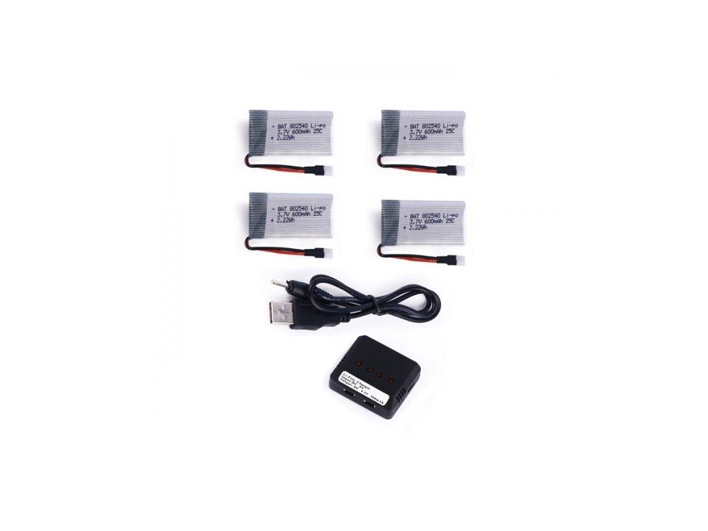 Set 4 akumulátorov 600mAh 3,7V + nabíjačka na 4 batérie