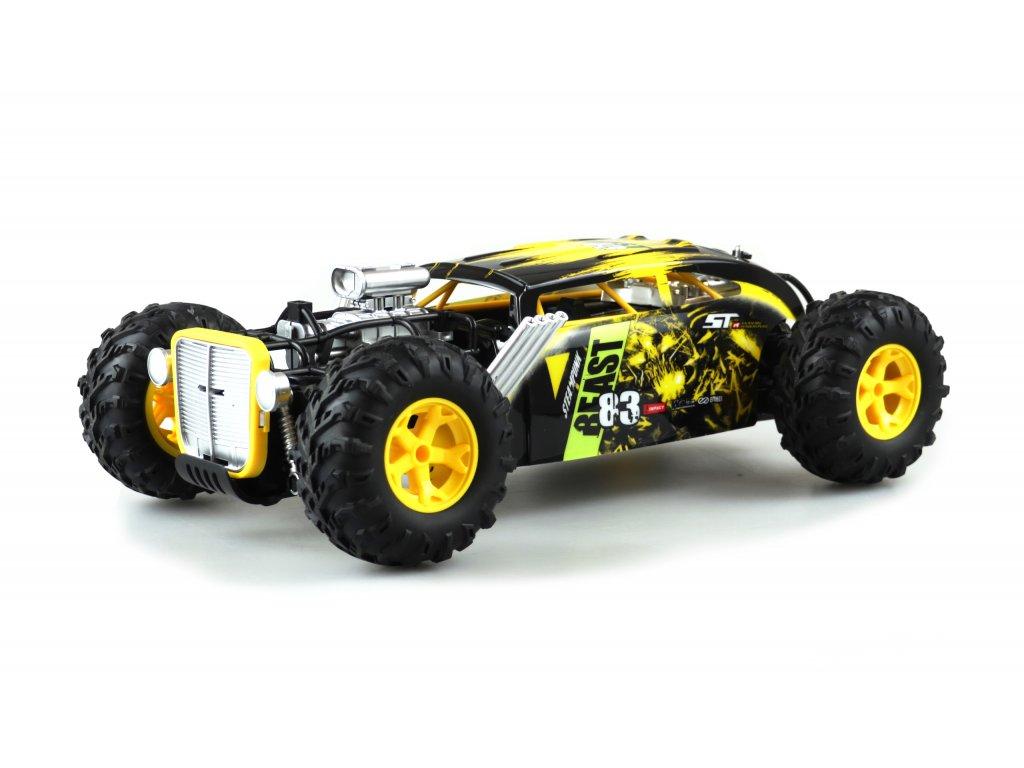 RC auto Steampunk BEAST Hot Rod Dragster 4 WD 1:12, 2.4 GHz, RTR, žltá