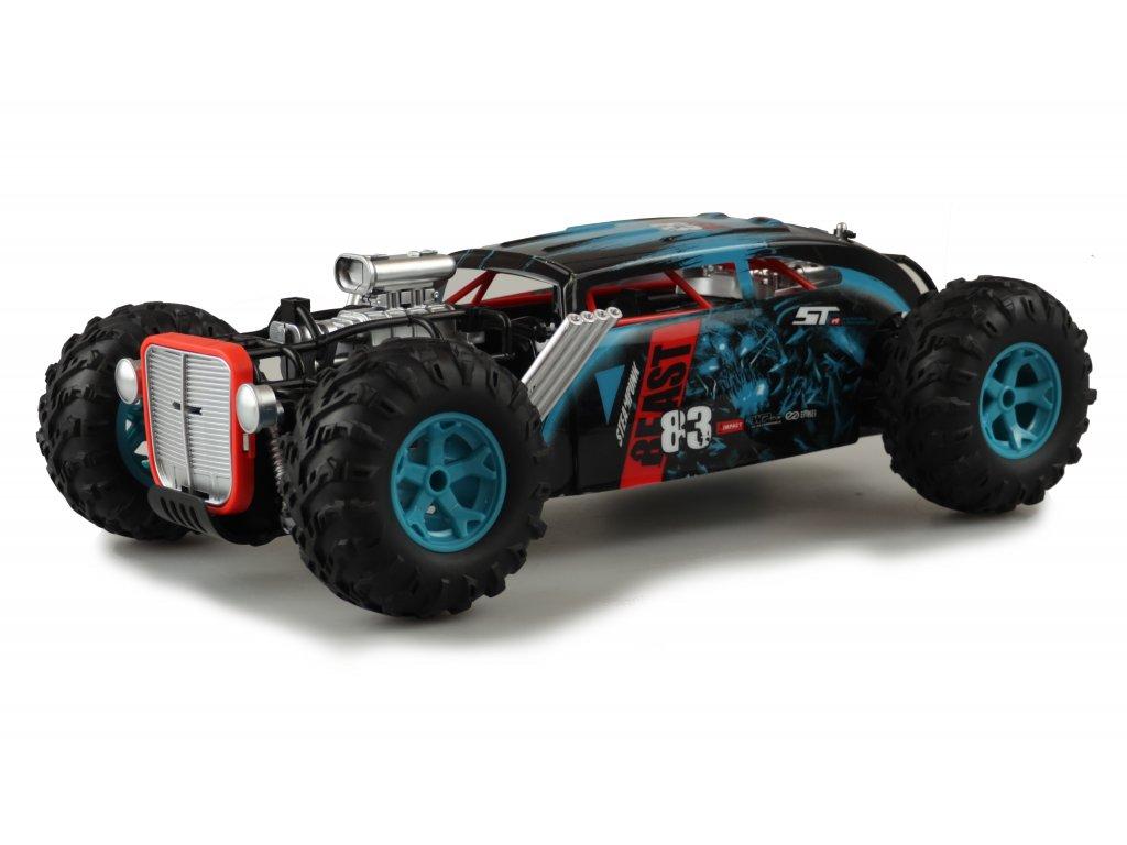 RC auto Steampunk BEAST Hot Rod Dragster 4 WD 1:12, 2.4 GHz, RTR, modrá