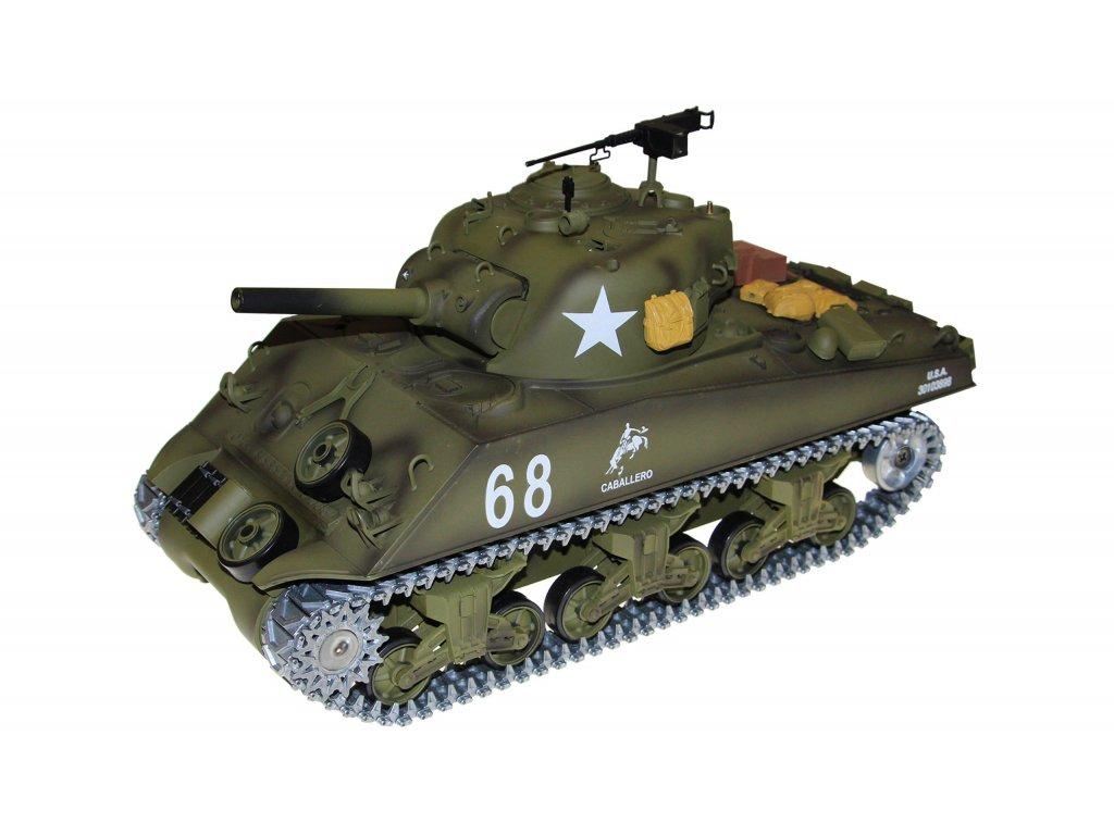 RC tank SHERMAN M4A3 BB+IR v kufríku, 1:16, 2.4 GHz, zvuk, dym, kovové prevodovky a pásy, RTR