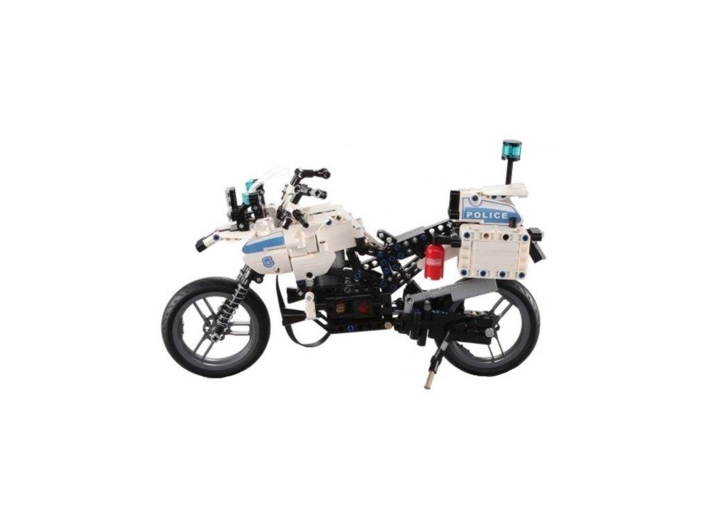 Policajná motorka- stavebnice na diaľkové ovládanie